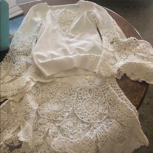 Chanel white crochet set 38
